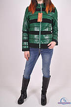 Куртка женская (цв.зеленый) из кожзаменителя комбинированная демисезонная Max_HT 109 Размер:36