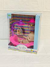 Пупс с бутылочкой в розовой ванне