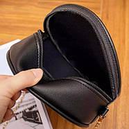 Сумочка женская круглая через плече черного цвета клатч, фото 3