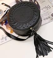 Сумочка женская круглая через плече черного цвета, сумка клатч, фото 3