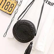 Сумочка женская круглая через плече черного цвета, сумка клатч, фото 5