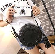 Сумочка женская круглая через плече черного цвета, сумка клатч, фото 6