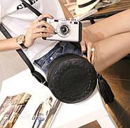 Сумочка женская круглая через плече черного цвета, сумка клатч, фото 7