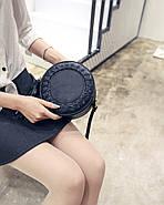Сумочка женская круглая через плече черного цвета, сумка клатч, фото 8