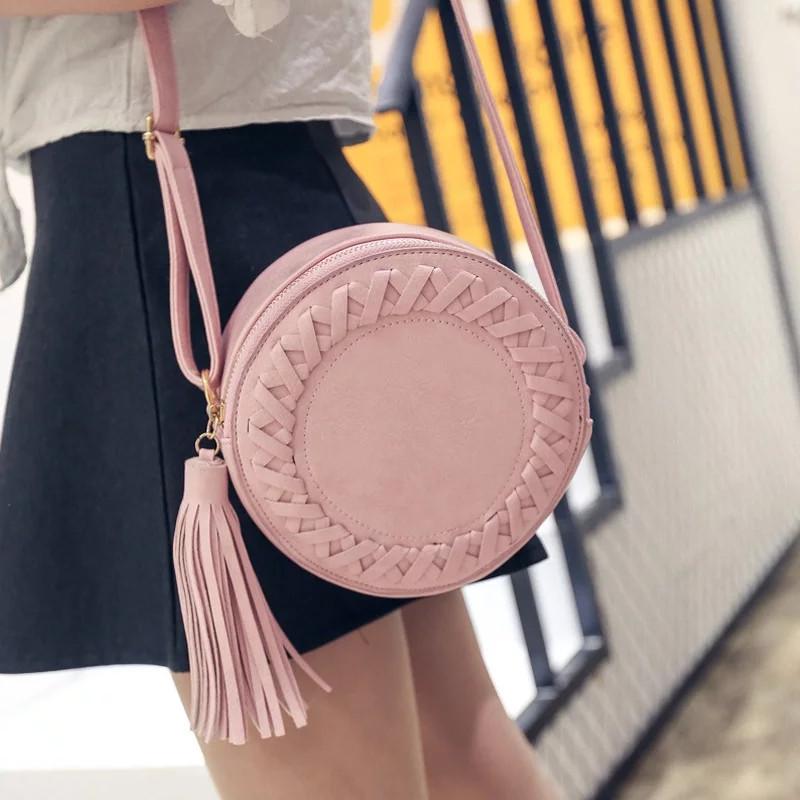 Сумочка женская круглая через плече розового цвета, сумка клатч