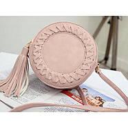 Сумочка женская круглая через плече розового цвета, сумка клатч, фото 2