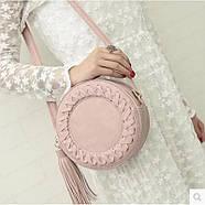 Сумочка женская круглая через плече розового цвета, сумка клатч, фото 3
