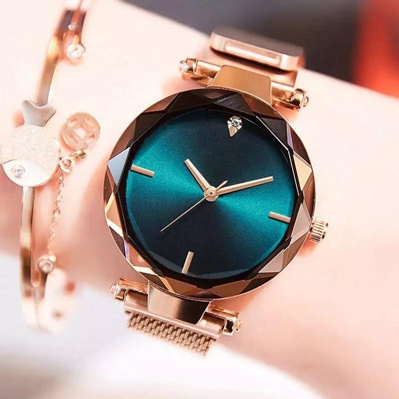 Часы женские наручные на магнитной застежке золотого цвета кварцевые часы на магните