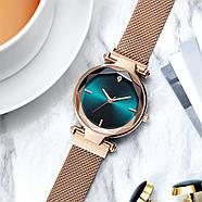 Часы женские наручные на магнитной застежке золотого цвета кварцевые часы на магните, фото 3