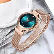 Часы женские наручные на магнитной застежке золотого цвета кварцевые часы на магните, фото 4