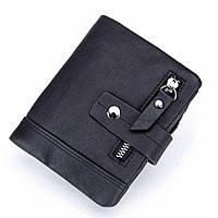 Мужской кожаный кошелек Stela Italia | Мужской бумажник из натуральной кожи Черный
