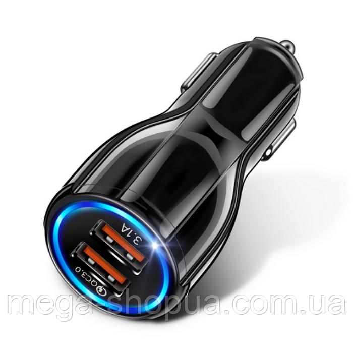 Автомобильное зарядное устройство LED Indicator Dual USB Car Charger 3.1A Black