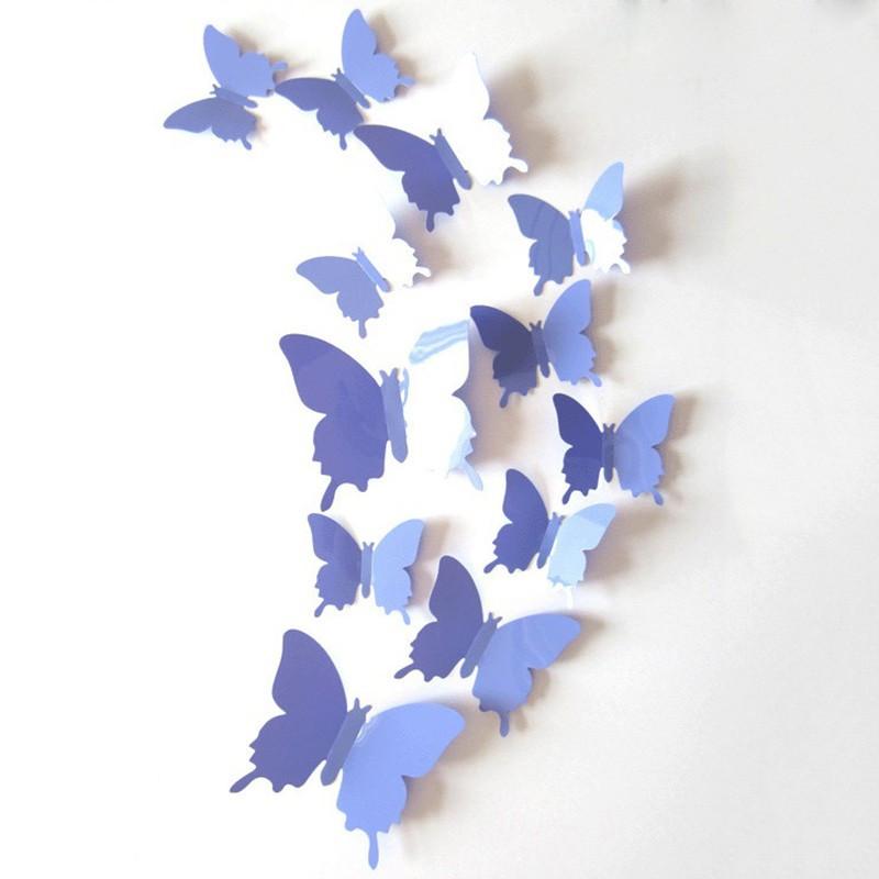 Бабочки 3D 12 шт. глянцевые однотонные, цвет сиреневый