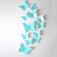 Бабочки 3D 12 шт. глянцевые однотонные, цвет бирюзовый