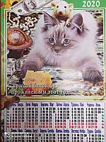 """Настенный листовой календарь формата А2 """"Кошка"""" 2020"""