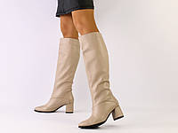 Женские демисезонные бежевые кожаные сапоги, фото 1
