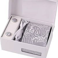 Набор подарочный: галстук, запонки, платок, зажим, коробка узор Пейсли светло-серый GS880
