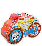 Копилка шкатулка на замке Велосипед 13,5 см 1603000 металлическая детская металл для ребенка, фото 3