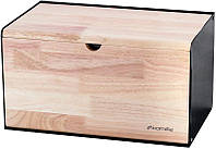 Хлебница Kamille Breadbasket Steel&Bamboo 35.5х21.5х19.5см из нержавеющей стали, фото 1