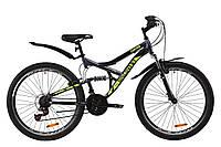 """Велосипед горный двухподвес 26"""" Discovery CANYON AM Vbr 2020 (рама 17.5"""", серый с желтым)"""