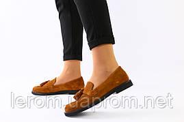 Женские замшевые туфли с кисточкой, рыжие 39