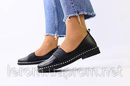 Женские черные кожаные туфли с блестящей резинкой 36