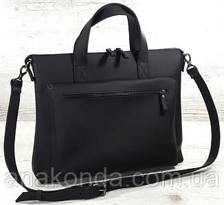 650 Натуральная кожа Сумка кожаная деловая мужская женская унисекс для ноутбука черная ультраматовая графит