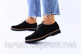Женские черные замшевые туфли на шнуровке 38