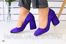 Женские замшевые фиолетовые лодочки, каблук 8 см 36