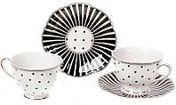 """Чайный фарфоровый сервиз """"Версаль. Минималист"""" 6 чашек 250мл и 6 блюдец Ø15см, фото 1"""