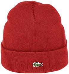 Мужская шапка Lacoste (ориг.бирка) красная