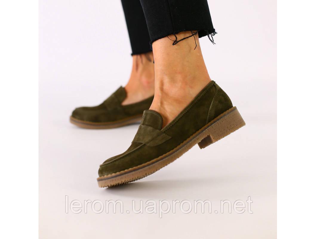 Женские замшевые туфли цвета хаки 37