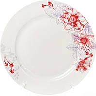 """Набор 6 фарфоровых обеденных тарелок """"Цветы"""" Ø27см, фото 1"""