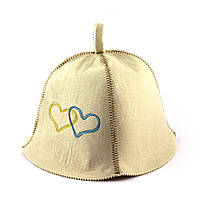Банная шапка Luxyart Сердца Украины Белый LA-370, КОД: 1101546