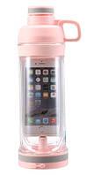 Бутылка для воды с отделением для телефона 5s Розовый, фото 1