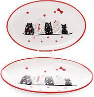 """Блюдо керамическое """"I Love My Cat"""" 28.6х18.2см овальное, фото 1"""