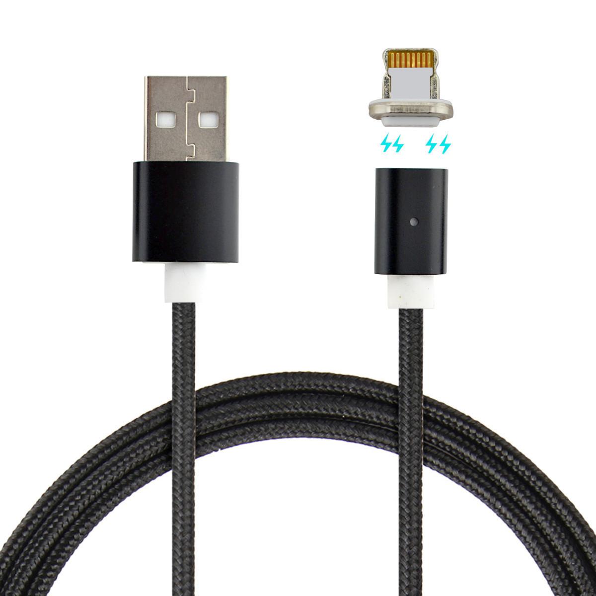 Магнітний кабель Dellta для Iphone Lightning DM-M12 в тканинній оплетенням Black