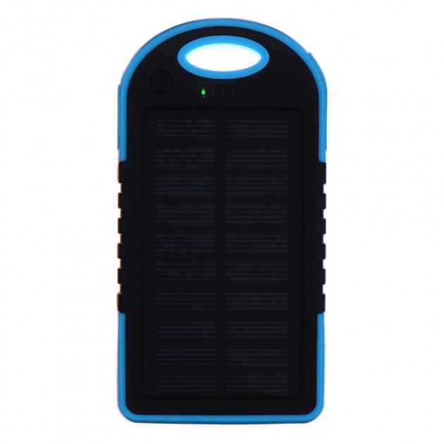 Внешний акумулятор Power bank UKC PB-263 10000 mAh с солнечной панелью и фонариком Черный с голубым