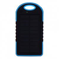 Внешний акумулятор Power bank UKC PB-263 10000 mAh с солнечной панелью и фонариком Черный с голубым, фото 1
