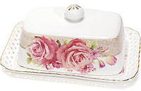 """Масленка """"Букет роз""""-132 17x12x6.5см, фарфоровая, фото 1"""