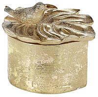 "Шкатулка для украшений ""Монстера с птичкой"" 12х10.5х10см, золото"