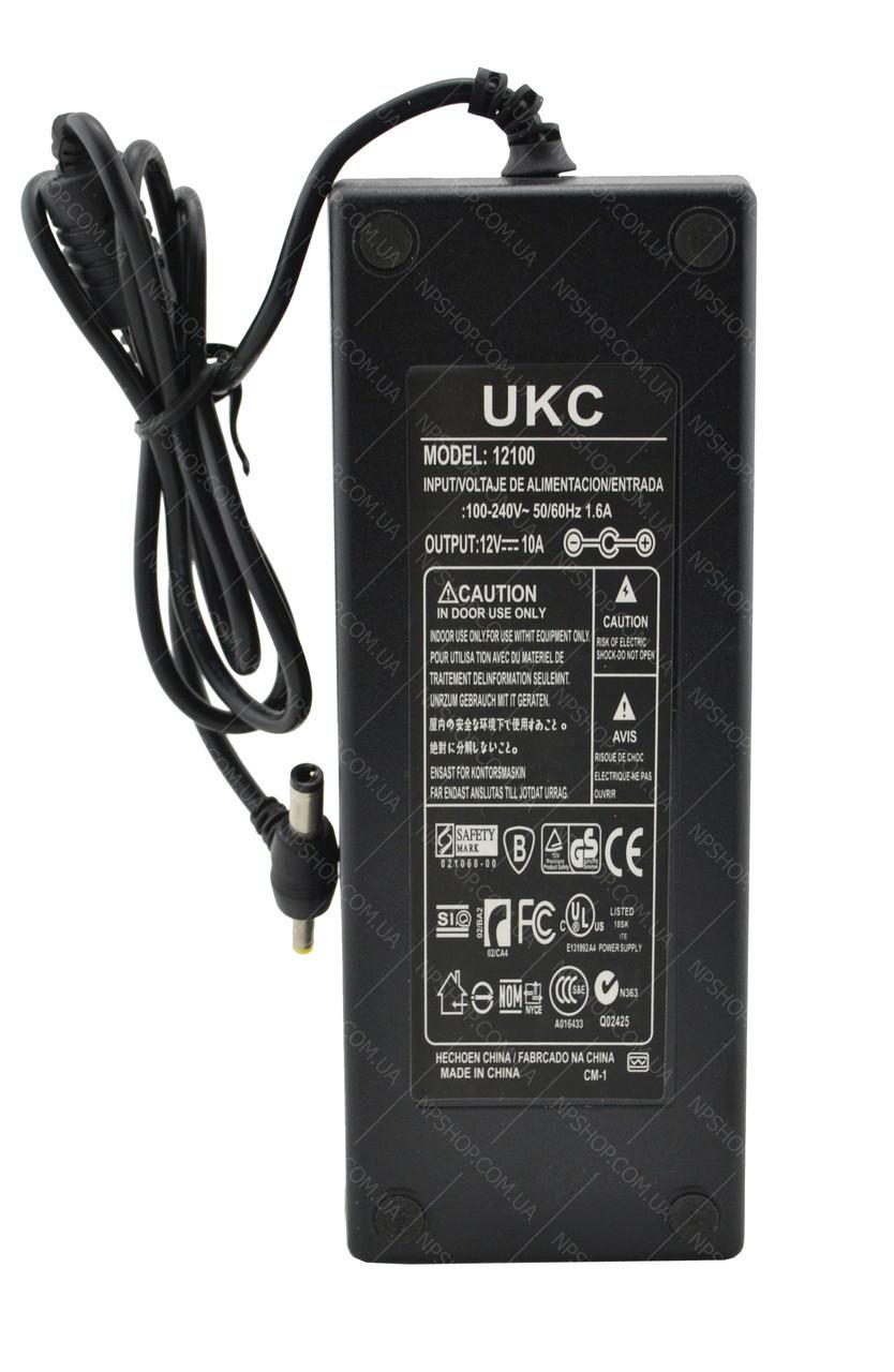 Блок питания адаптер 12V 10A для SMD лент и др + кабель питания