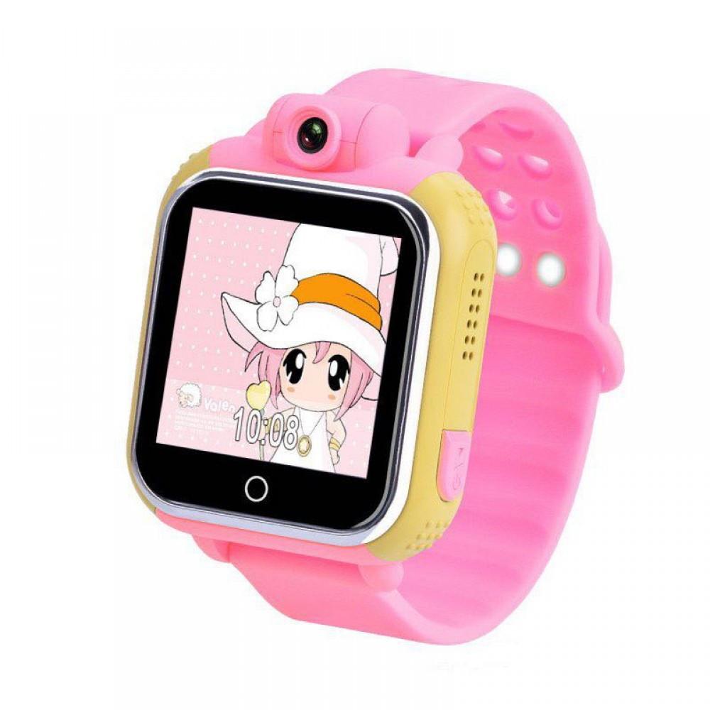 Детские Smart часы Uwatch Q200 1.54' LED + GPS трекер Pink