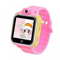 Детские Smart часы Uwatch Q200 1.54' LED + GPS трекер Pink, фото 1