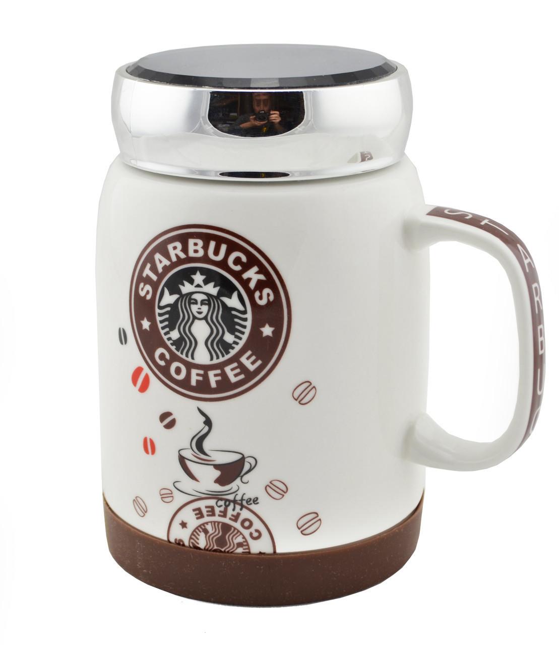Чашка керамическая кружка Starbucks SH 025-1 бело-коричневая
