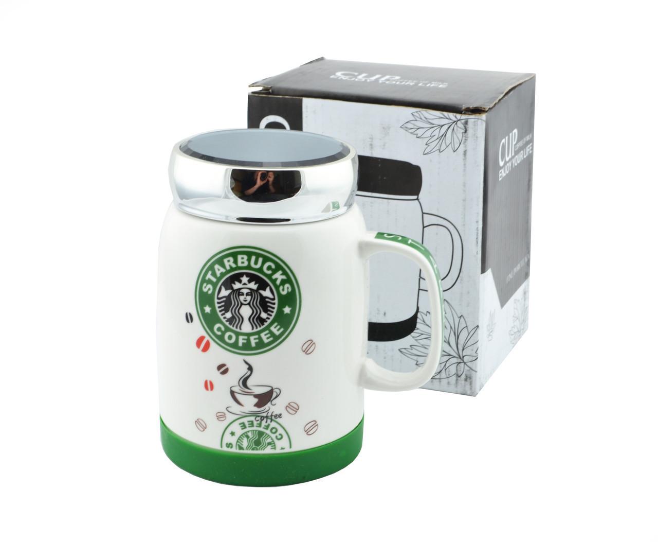 Чашка керамическая кружка Starbucks SH 025-1 бело-зеленая