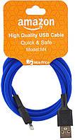 USB кабель для iPhone Lightning (кабель для зарядки айфона) 1 метр Amazon M4 (Микс цветов) (90447)