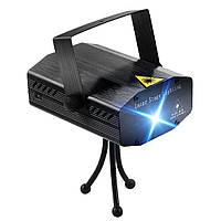 Лазерный проектор, стробоскоп, диско лазер UKC HJ06 6 в 1 c триногой Black, фото 1