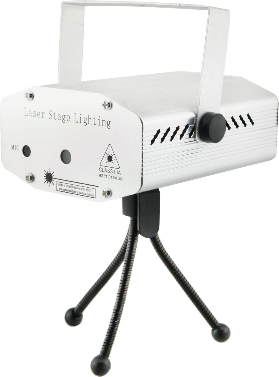 Лазерный проектор, стробоскоп, диско лазер UKC HJ09 2 в 1 c триногой Silver