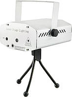 Лазерный проектор, стробоскоп, диско лазер UKC HJ09 2 в 1 c триногой Silver, фото 1